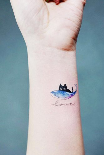 Cute Wrist Tattoo Design With Cat #cattattoo #lovetattoo