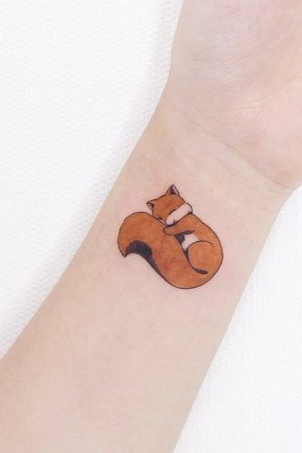 Sleeping Fox Tattoo Design #foxtattoo