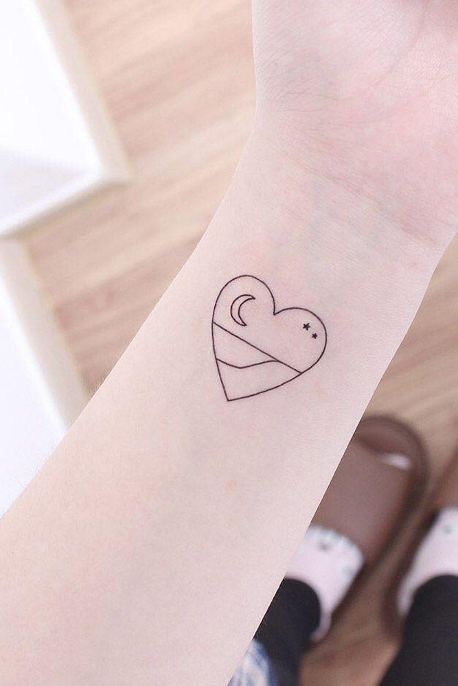 Small Outline Heart Tattoo #hearttattoo
