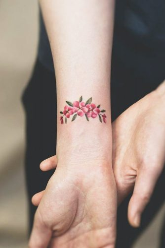 Beautiful Wrist Tattoo With Pink Flowers #flowertattoo