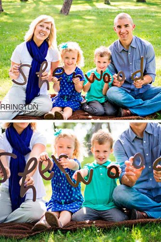 Pictures With Wooden Letters #kidsphoto #familyname