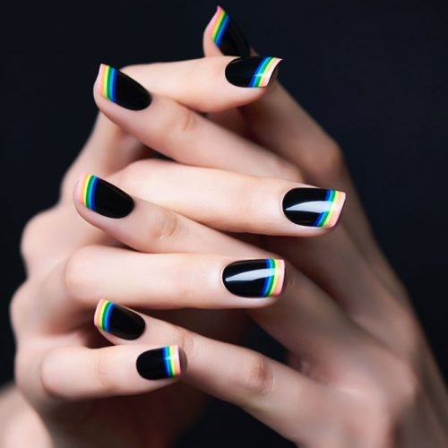 French Nails 2018: Rainbow On Black Base #blacknails #rainbownails