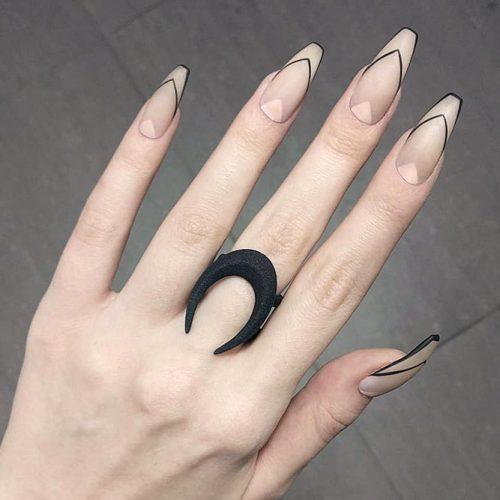 Lined French Manicure On Nude Nails #coffinnails #mattenails #nudenails #modernnails
