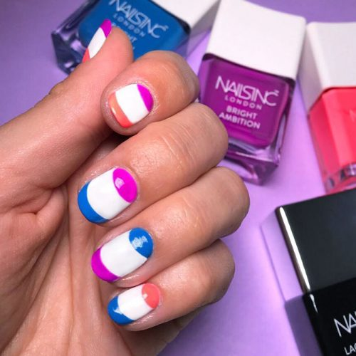 Play On Contrasts Bright French Tips On Pure White Base #colorfulfrenchnails #roundednails