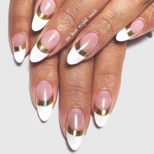 Fantastic Holo Gold French Nails #goldnails #almondnails #modernnails