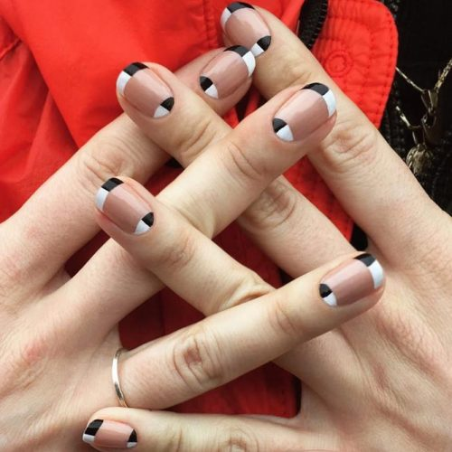 Half And Half Modern French Tips For Being In Trend #blackwhitenails #roundednails