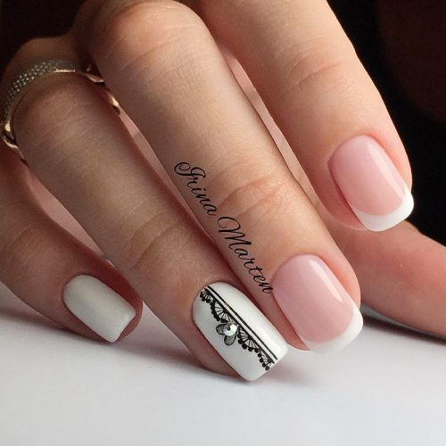 Feminine French Manicure With Lace Accent #lacenails #squoval