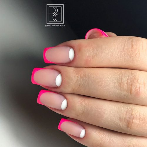Neon Pink Tips You'll Want To Try #neonnails #pinknails #neonfrenchtips #colorfulfrenchnails #mattenails