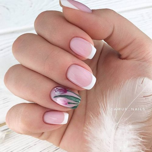 Beautiful Flowers In Combination With White French Manicure #flowers #flowernails #floralnails #nudenails