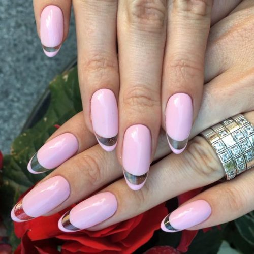Lovely French Nails Acrylic Transparent Tips #pinknails #ovalnails #colorfulfrenchnails