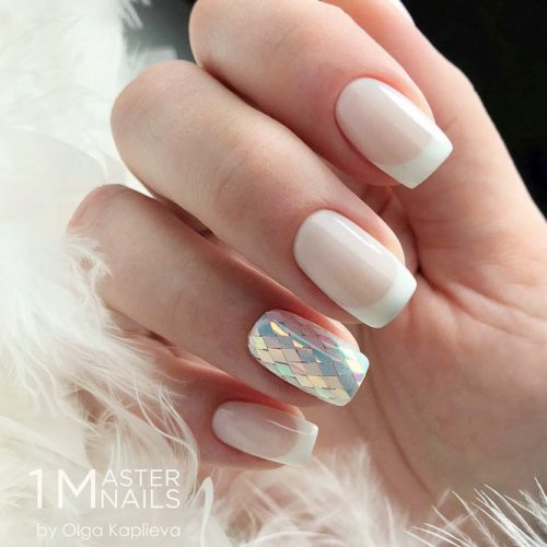 French Nails With Holo Sequins Accent Nail #sequins #sequinnails #nudenails