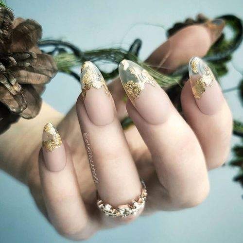 Matte French Nails With Gold Foil For Glamorous Look #mattenails #nudenails #foilnails #goldfoil