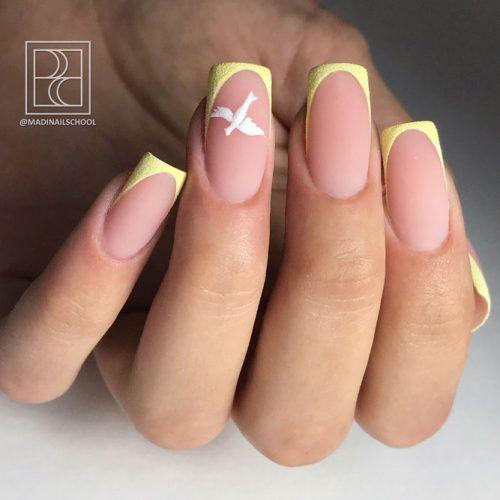 Delicate Yellow French Tip Nails #yellownails #squarenails #mattenails #colorfulfrenchnails