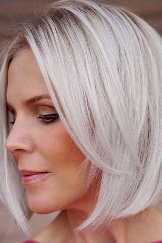 Long Bangs Haircut For Layered Bob #blondebob #straighthair #bobhaircut