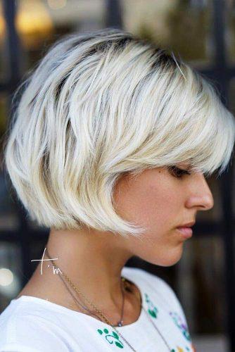 Layered Bob Haircut For Short Hair #shortbob #bobhaircut #blondebob