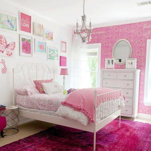 Teen Bedroom Interior In Pink Color #pinkwalls #pillows