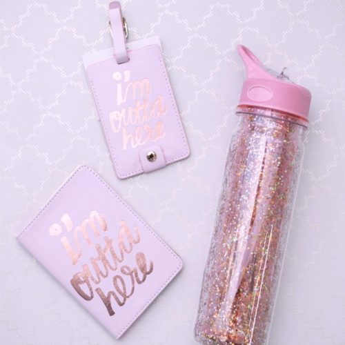 Passport Holder, Luggage Tag And Bottle Designs In Pink Color #bottle #personalizedluggagetag