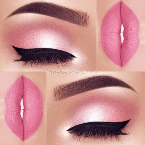 Makeup Idea In A Pink Color With Black Eyeliner #pinkmakeupidea