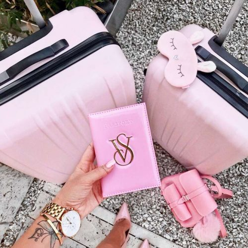Travel Accessories In Pink Color #travelcase #sleepmask #backpack