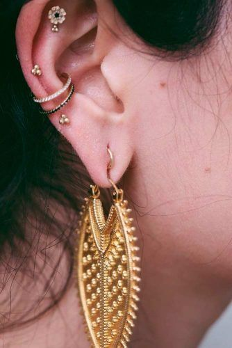 Conch Piercing With Gold Jewelry #goldrings #conchpiercing