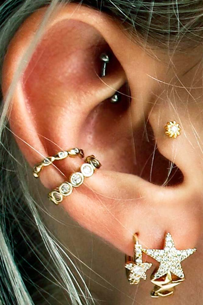 Rool Piercings With Conch And Daith #rookearpiercings #conchearpiercings #lobeearpiercings