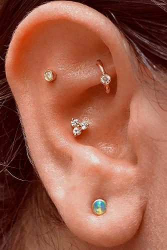 Rool Piercings With Daith And Flat #rookearpiercings #flatearpiercings