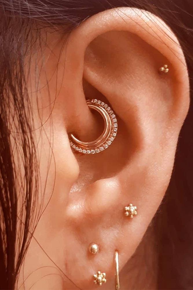Most Trendy Daith Piercing Lobe And Helix #daitheapiercing #helixearpiercing