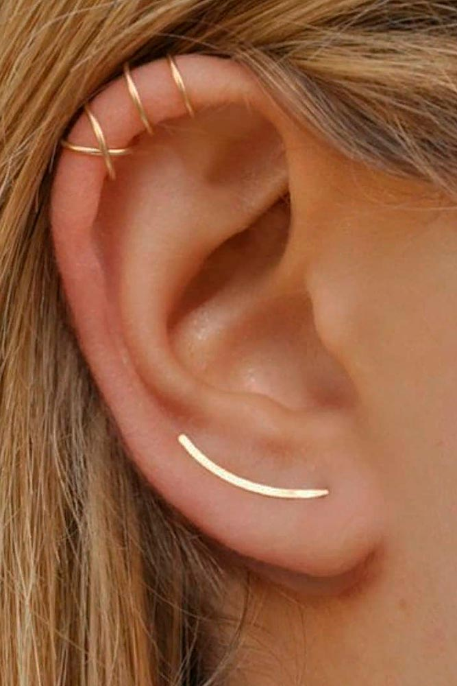 Multiple Piercings With Gold Rings #multiplepiercings #helixpiercings
