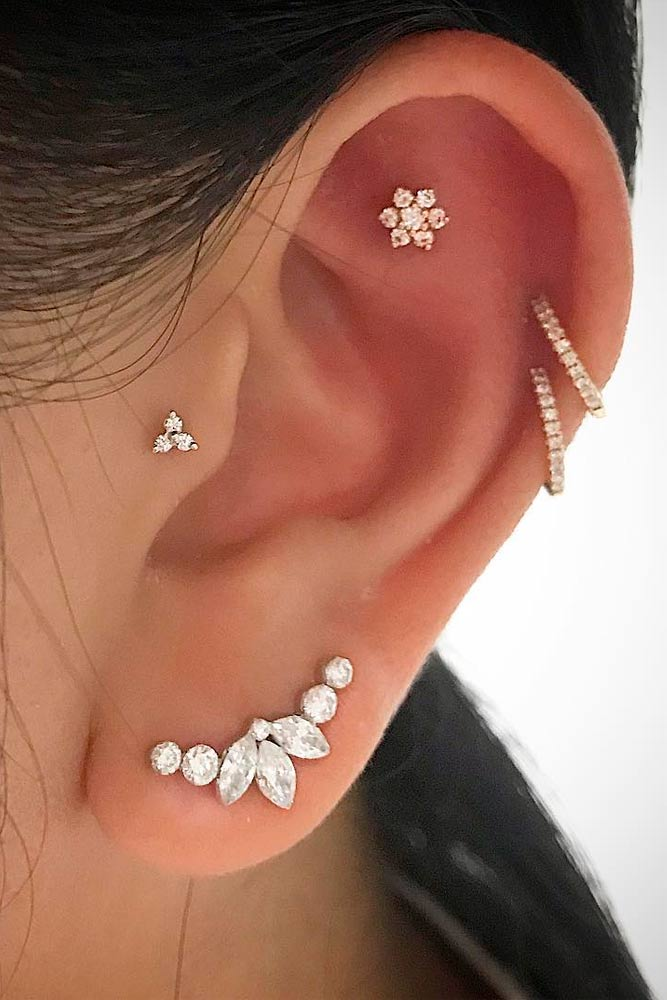 Cartilage Piercings With Gold Jewelry #helixpiercings # cartilage