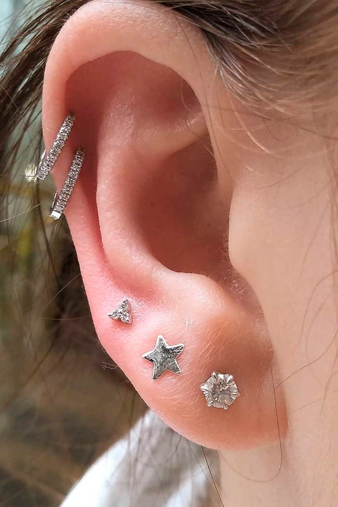 Cute Lobe Earpiercing #lobepiercing #multiplepiercings