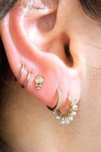 Lobe And Upper Lobe Earpiercing #lobepiercing #multiplepiercings