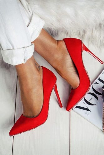 Amazing Closed Toe Red Stiletto Heels #closettoeheels #stilettoheels