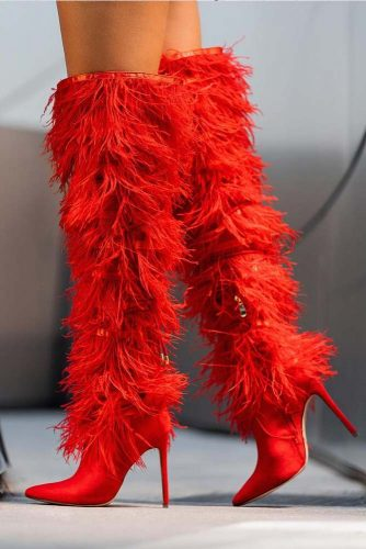 Fluffy Red OTK High Heel Boots #otkboots #fluffyboots