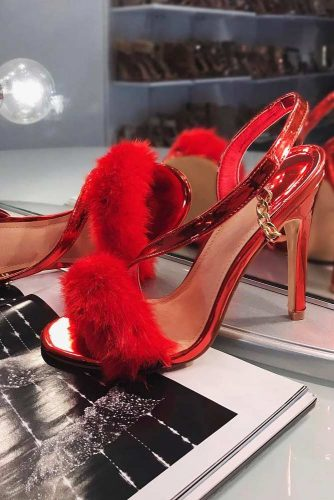 Sexy Red Heels With Fluffy Pompoms #heelswithpompoms