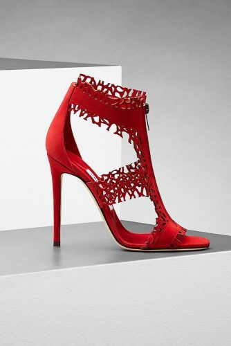 Red High Heel Sandals With Fringe #redsandals