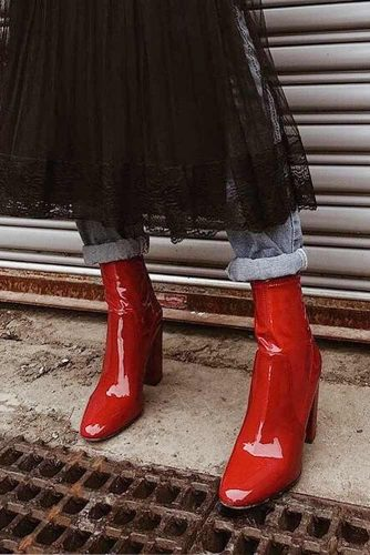 Red Leather High Heel Boots #leatherboots