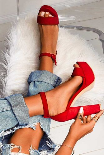 Red Open Toe Chunky Heels For Hot Girls #platformheels #blockheels