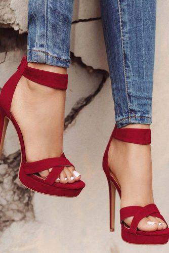 Wine Colored High Heel Sandals #highheelsandals