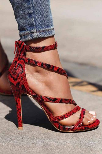 Red High Heels With A Snake Skin Design #snakeskinheels