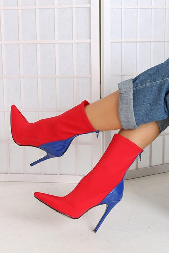 Stylish Stiletto Heeled Boots With Blue Accent #stilettoheels