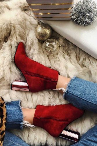 Red Fall Boots With Metallic Heels #fallheels