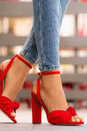 Red Velvet Chunky Heels #velvetheels #blockheels