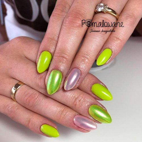Juicy Lime Green Nail Design #holonails #almondnails