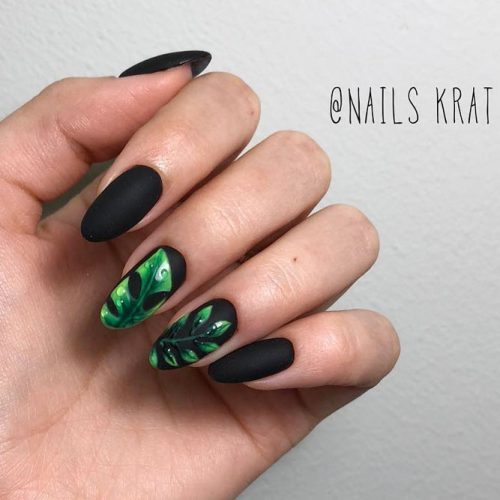Matte Black Like Perfect Base For Tropical Nail Art #blacknails #mattenail #tropicalnails