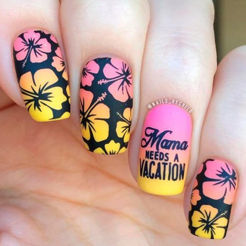 Summer Nail Colors 2018: Perfect Combination #mattenails #floralnails