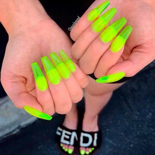 Yellow Neon Nail Design #yellownails #neonnails