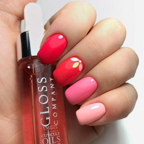 Fatal Red And Pink Shades For Extra Girly Manicure #squoval #ombrenails