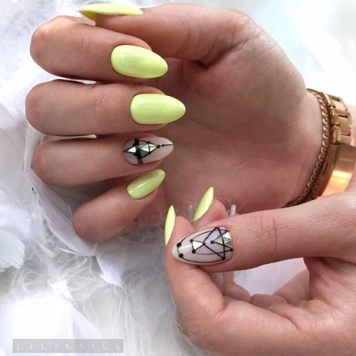 Neon Yellow For Summer Pool Party #almondnails #yellownails