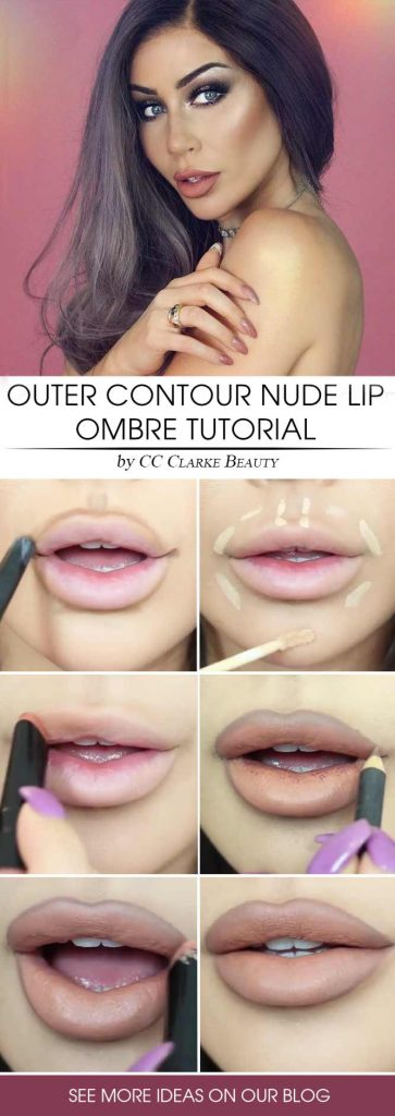 Outer Contour Nude Lip Ombre Tutorial #contour #ombrelips