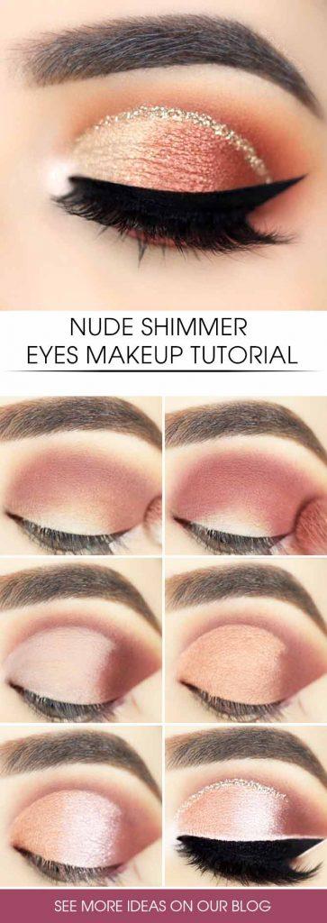 Nude Shimmer Eyes Makeup Tutorial #shimmereyes #nudeeyes